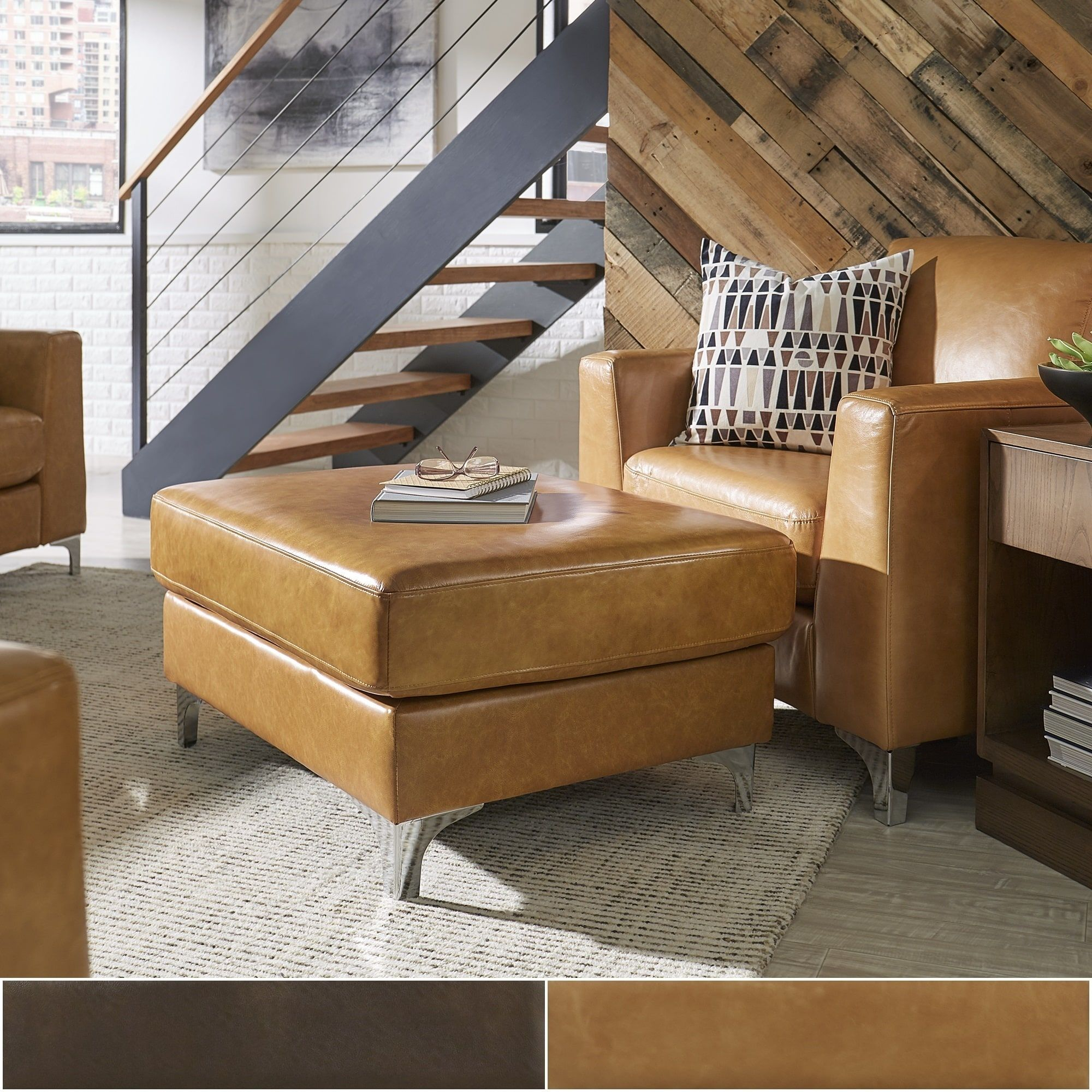 Bastian Aniline Leather Ottoman and Chair by iNSPIRE Q Modern (Caramel  Chair and Ottoman)