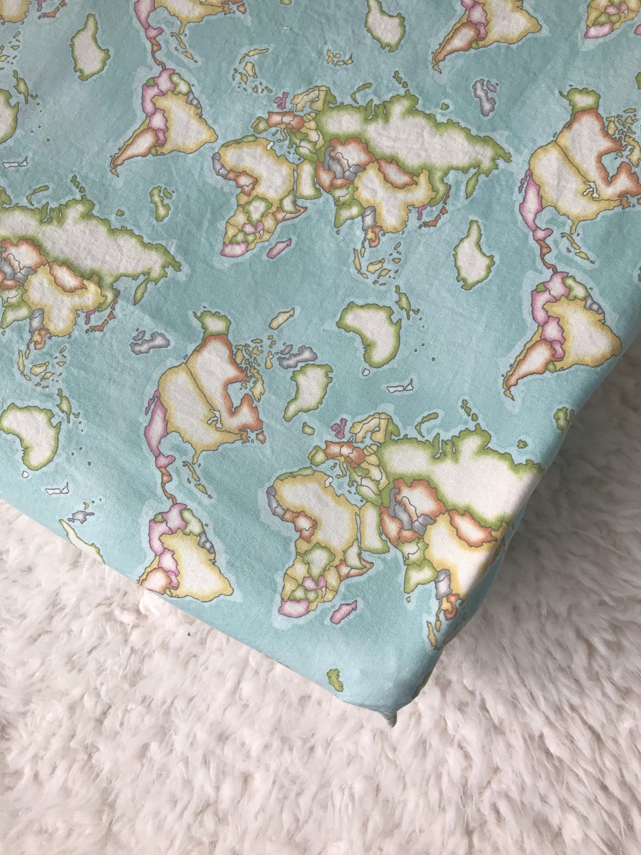 Map Baby Bedding, Map Blanket, Crib Sheet, Changing Pad ... World Map Crib Blanket on world map silhouette cameo, world map headboard, world map side table, world map coverlet, world map women's clothes, world map bedding set,