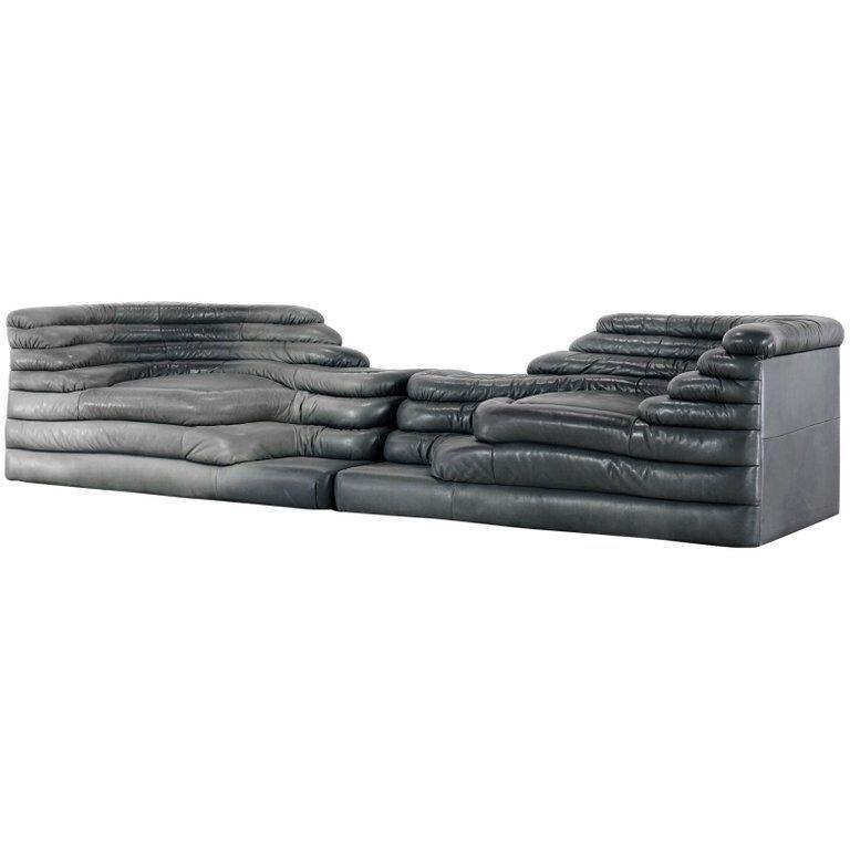 Interior Design Addict Two De Sede Terrazza Sofa Black Leather By