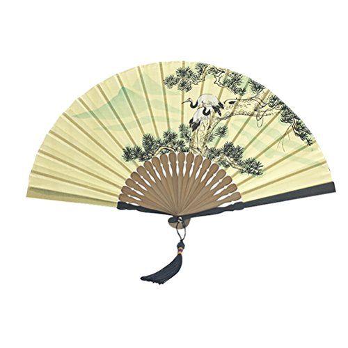 Luoke Men Silk Folding Fan Chinese Style Bamboo Frame Ink Flower ...