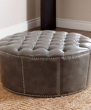 Gray Rae Nailhead-Trim Leather Ottoman | muebles tapizados ...