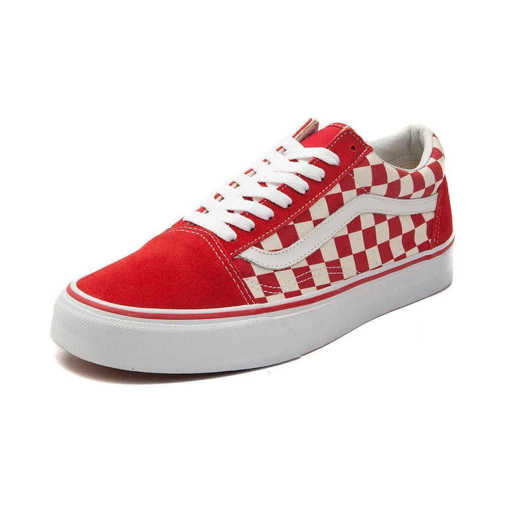 d416655d3c0e6f Vans Old Skool Chex Skate Shoe - Red White - 497098