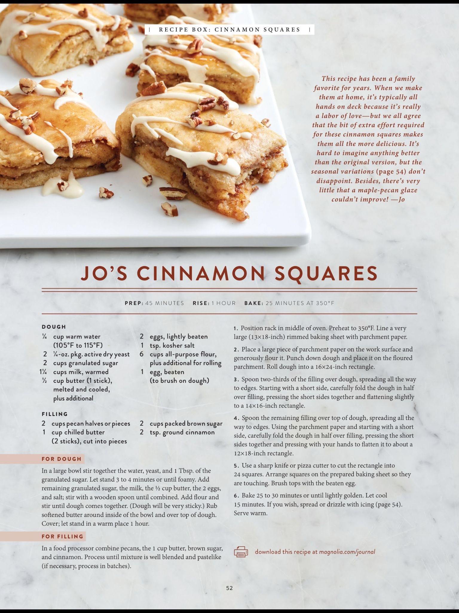 """""""Cinnamon Squares"""" from The Magnolia Journal, Winter 2018"""