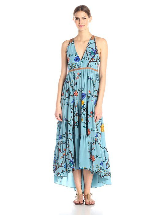 Tracy Reese Women's Tiered Halter Maxi Dress, Botanical Wallflower, 10