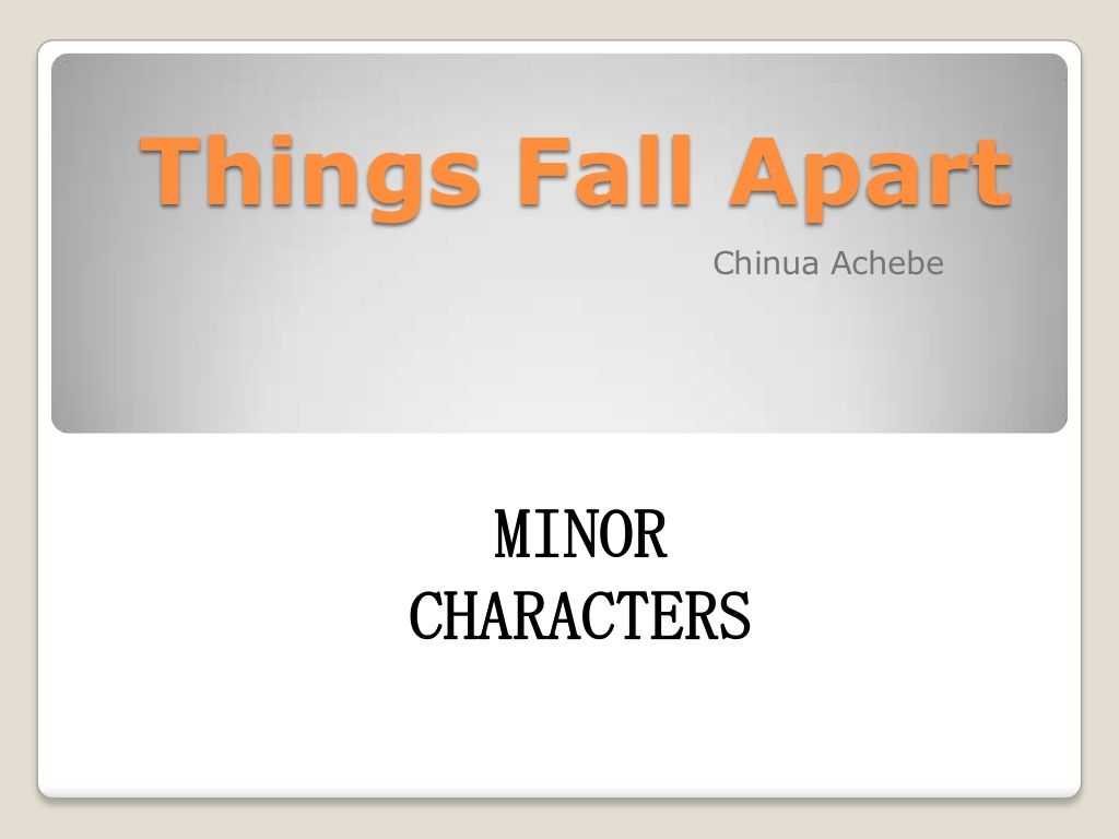 things fall apart introduction essay In your things fall apart analysis, you can discuss how changes—such as okonkwo's exile, the introduction of the missionaries, and the change in leadership of the missionaries—serve to disrupt umuofia's traditions.