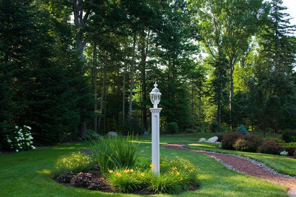 Pin By Madelyn Wattigney On Down The Garden Path Post Lights Backyard Landscaping Landscape Lighting
