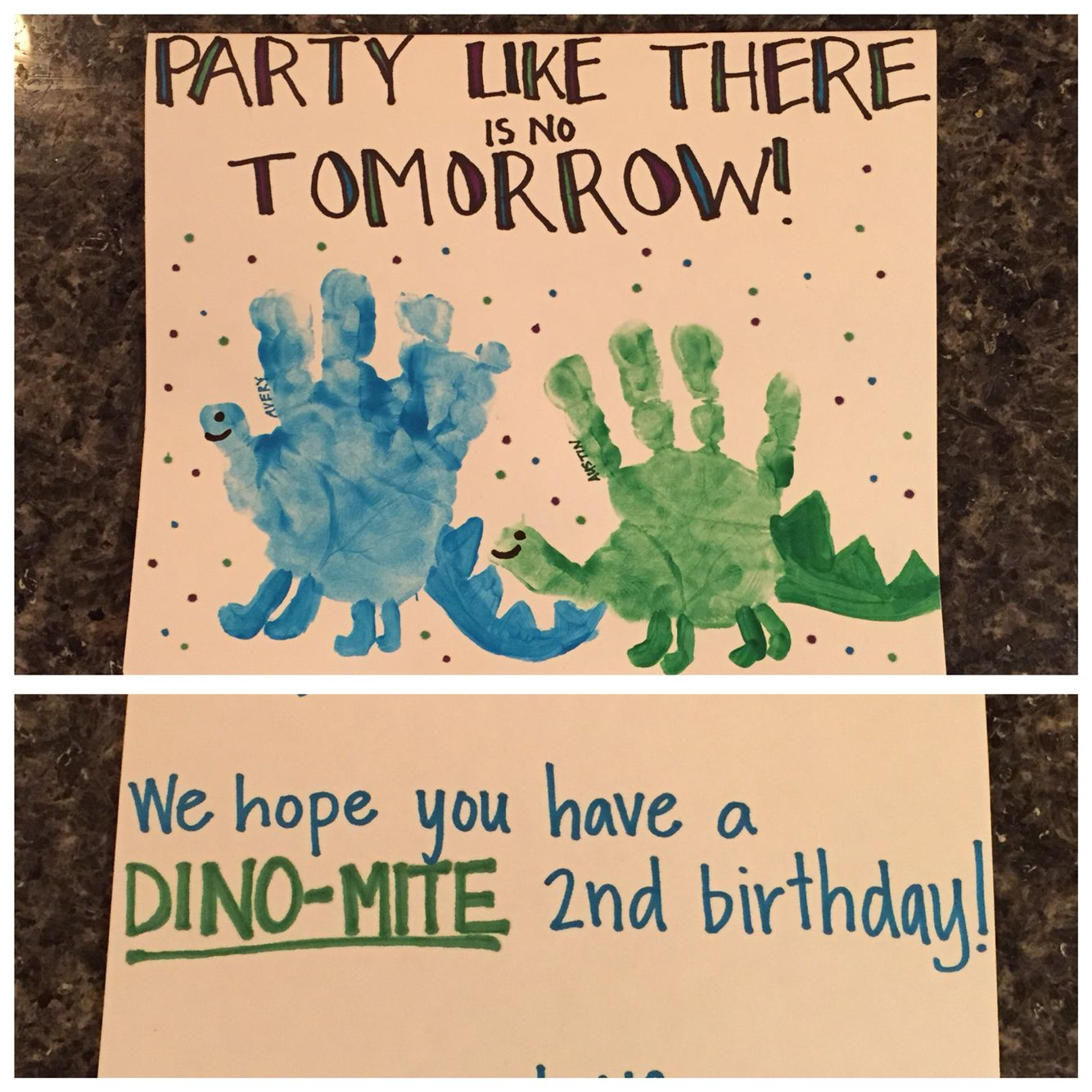 Dinosaur Handprint Birthday Card Nanny Life Artwork