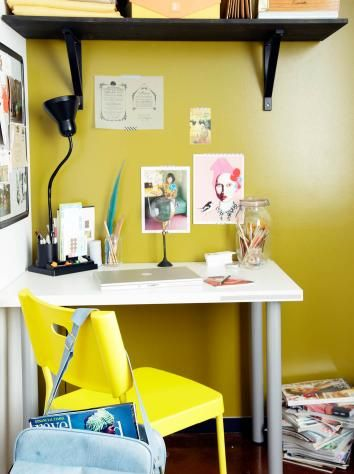 Loving The Yellow Wall Alternative Office Space Interior Inspiration Home Diy
