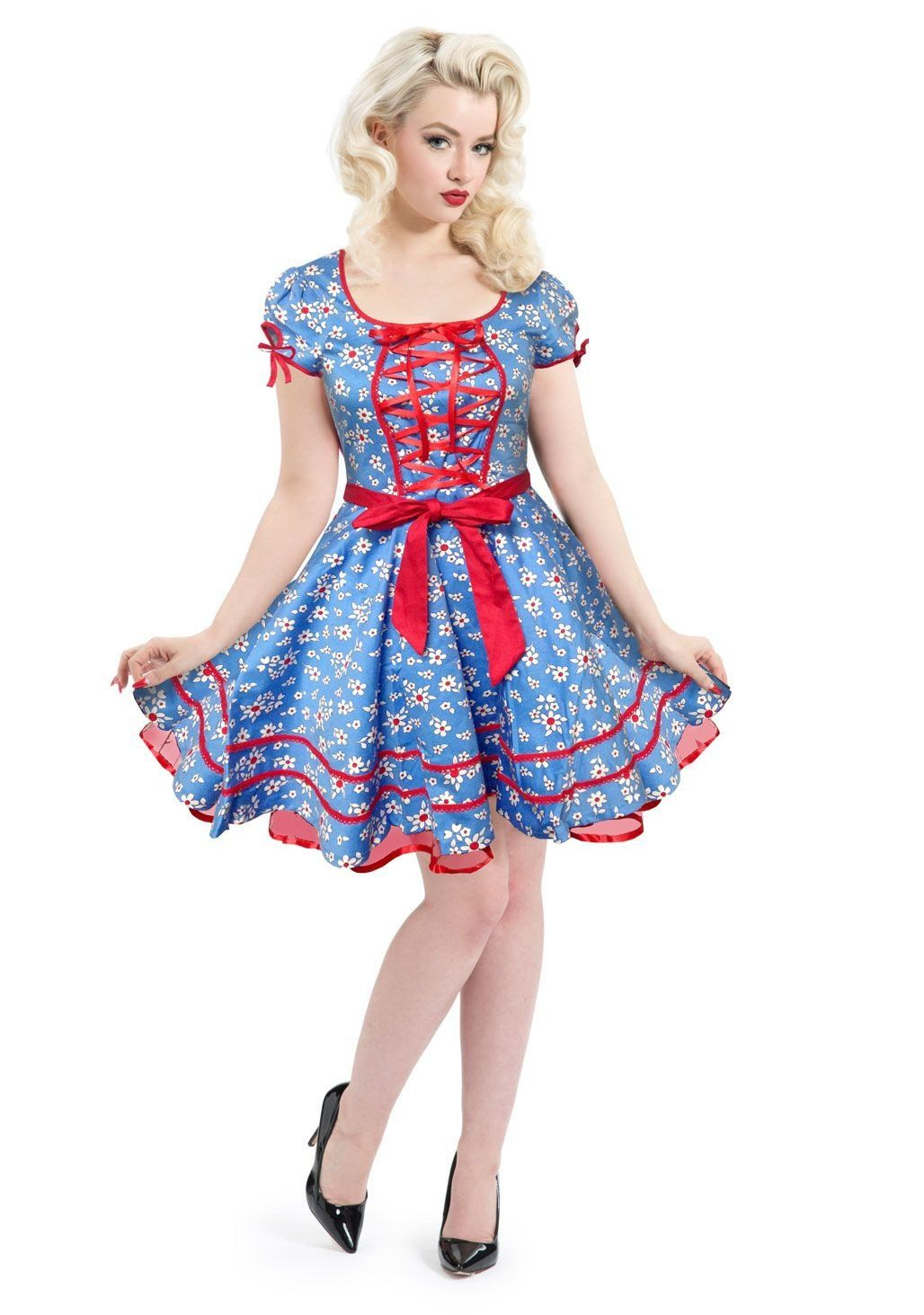 dc4f26498c07 Voodoo Vixen Lolita Flower Daisy Print Front Red Ribbon Lace up Blue ...