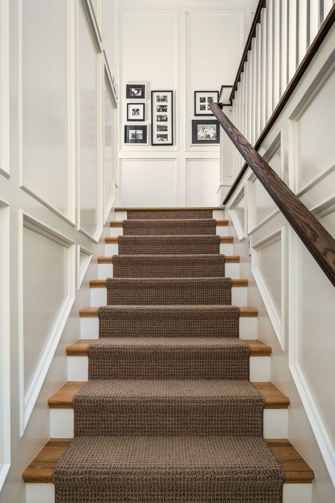 Carpeting Stairs Staircase Traditional with Black and White ...