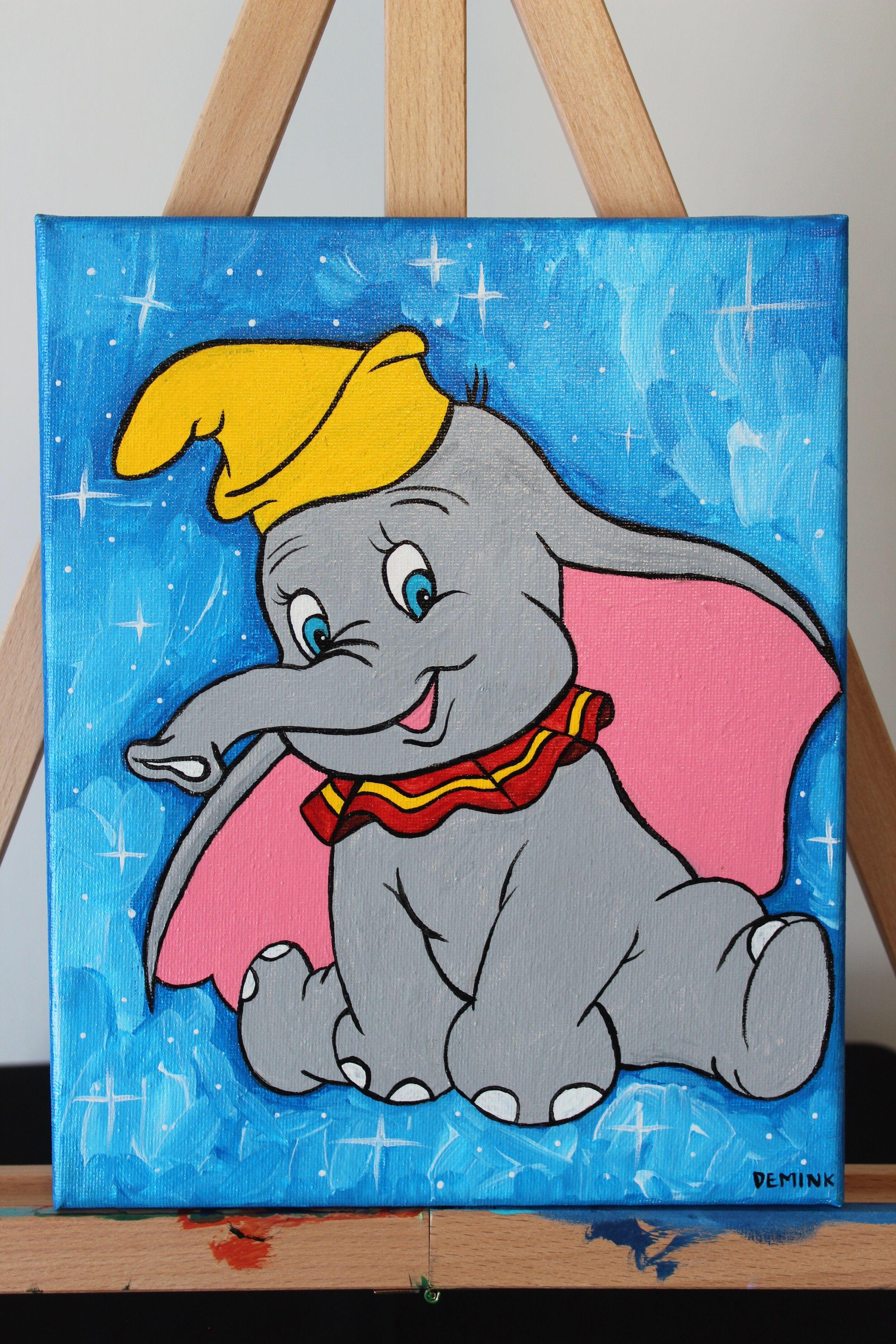 Sleeping Dumbo Inspired Canvas Painting