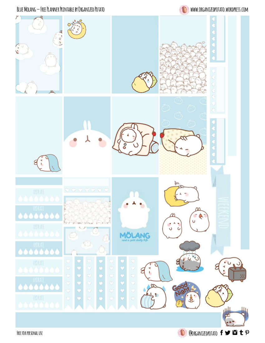 Free Planner Printable: Blue Molang – planner stickers