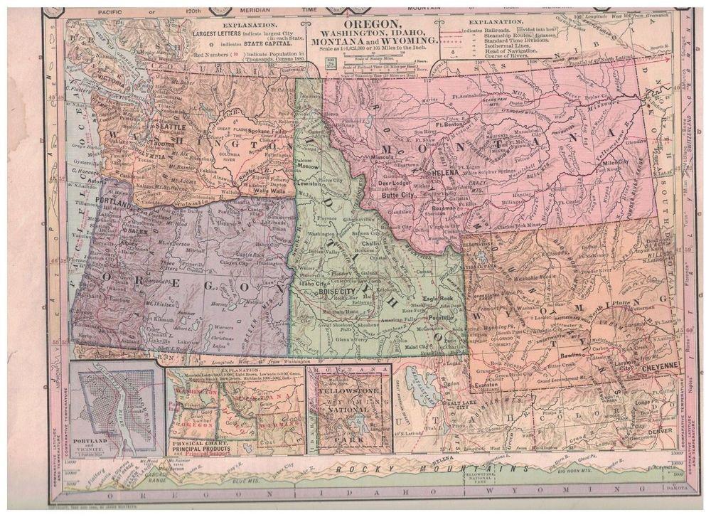 washington idaho montana map 1885 Map Of Oregon Washington Idaho Territory Montana Wyoming washington idaho montana map