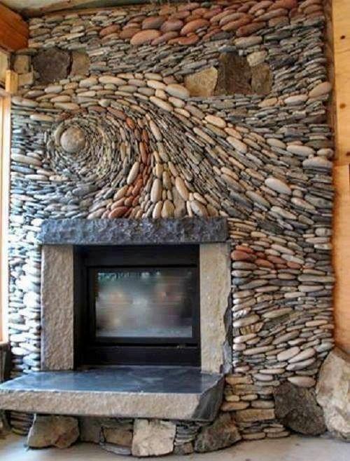 Wandgestaltung mit Steinen  Schönes Zuhause\/ For the Home - deko ofen wohnzimmer