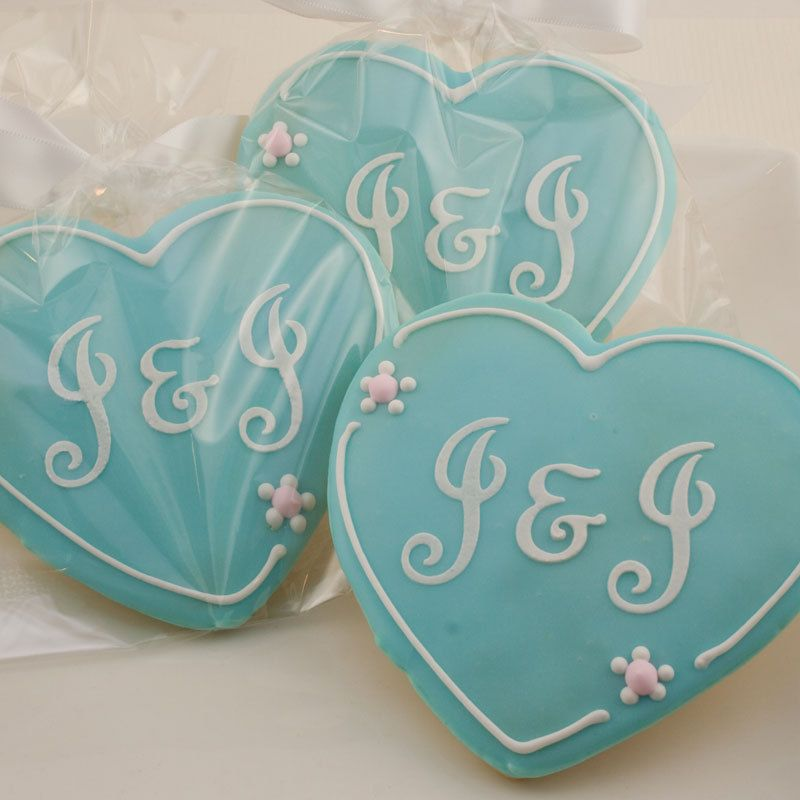 Heart Cookies, Monogrammed Wedding 1 Dozen Decorated Cookies