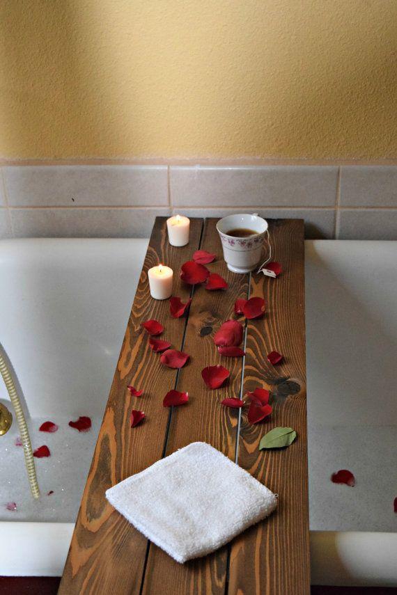 Bath Tub Book Tray | Dark Walnut stained | Wood Book Caddy Table ...