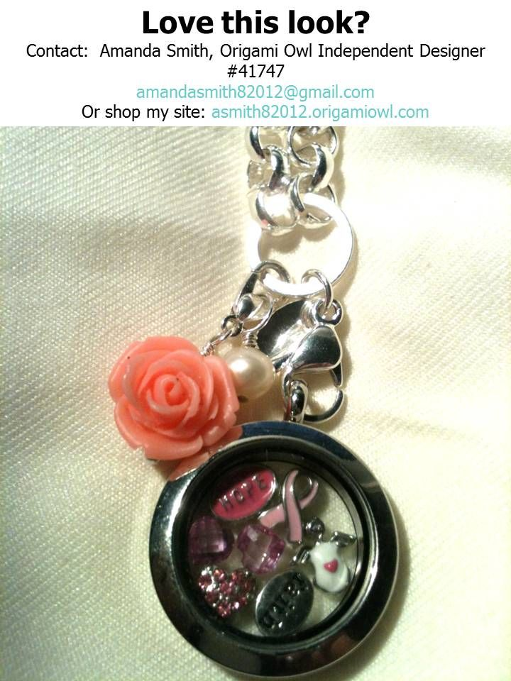"""Date: 10-3-13 / Get This Look: Hope, Pink Ribbon, Angel, Faith, Pink Heart With Crystals and 2 October Heart Birthstone Charms / Medium Silver Locket / 18-20"""" Silver Rolo Custom Chain / Coral Rose Dangle / Pearl Element / Cost: $87"""