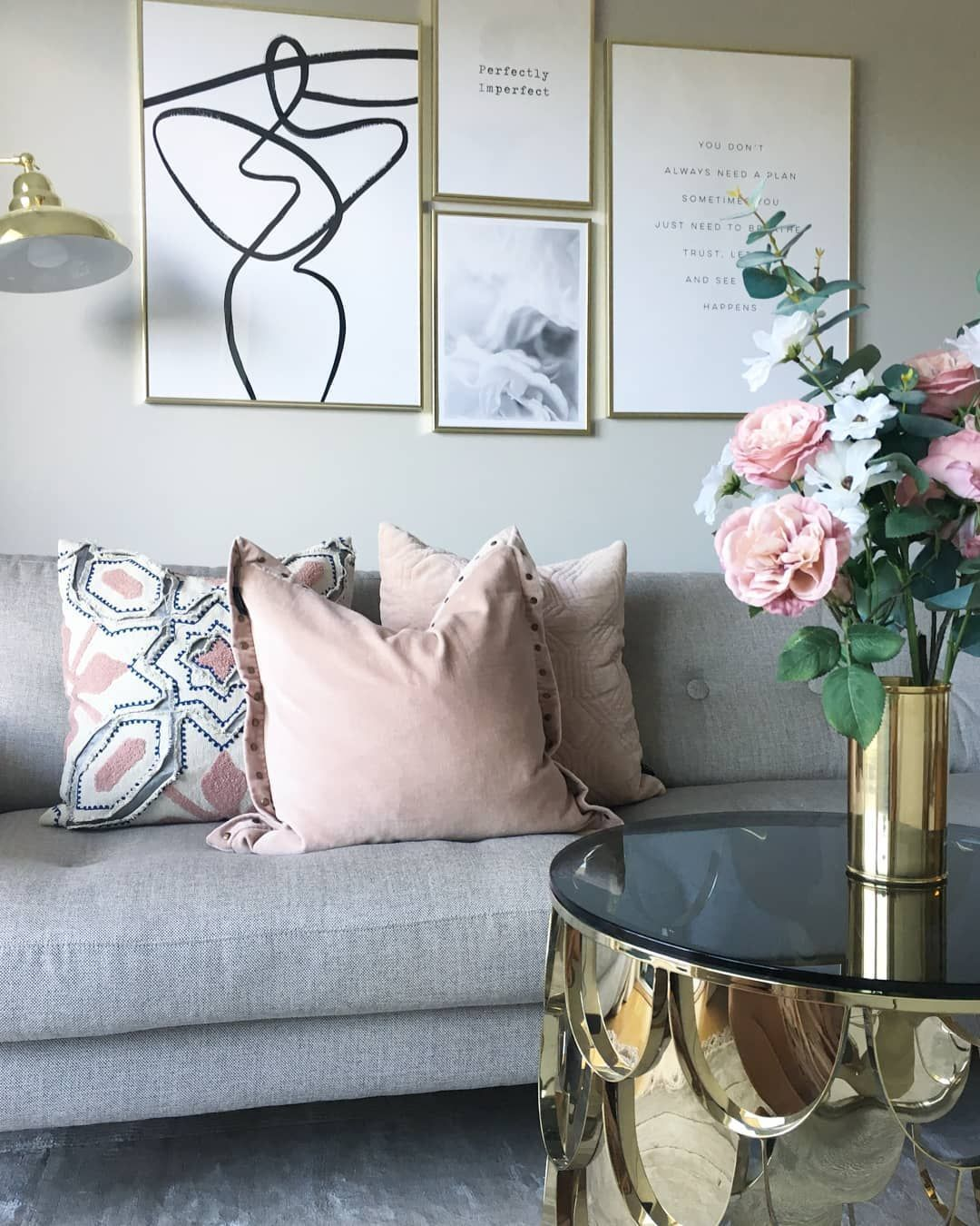 A Stunning Combination Of Blush Pink Greys And Gold Accents