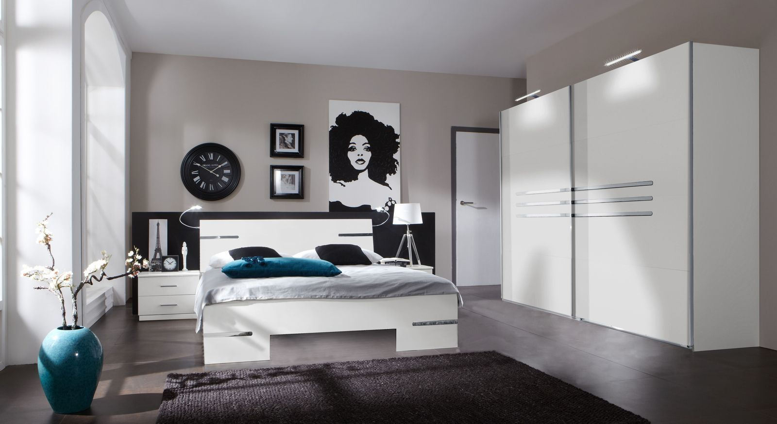 weisses komplett schlafzimmer mit modernem futonbett manati