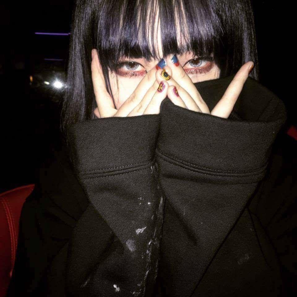 Grunge Pfp Uzzlang Girl Korean Hairstyle Black Aesthetic
