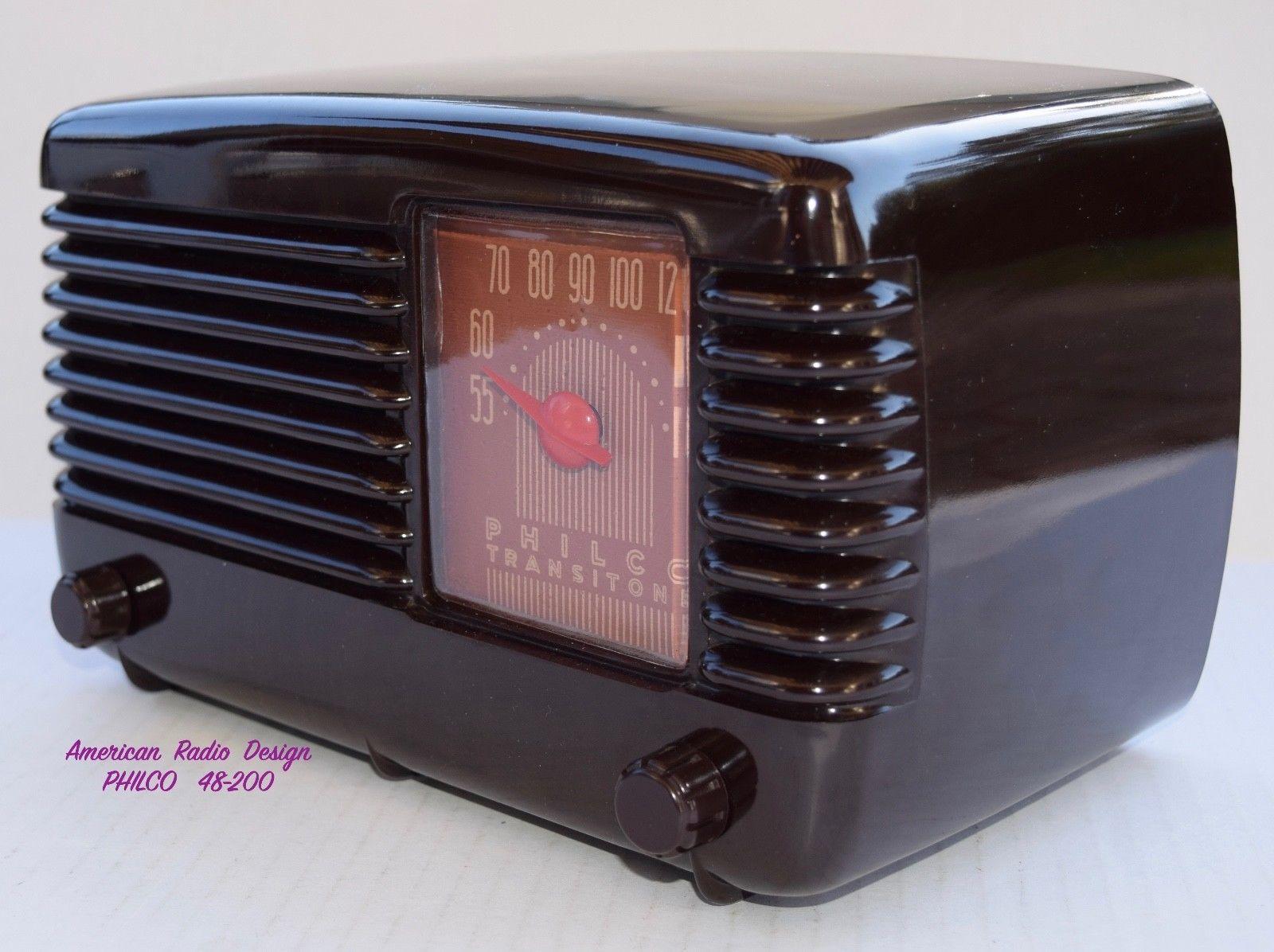 PHILCO 48 200 Mid Century Tube Radio BOX Manual WORKS