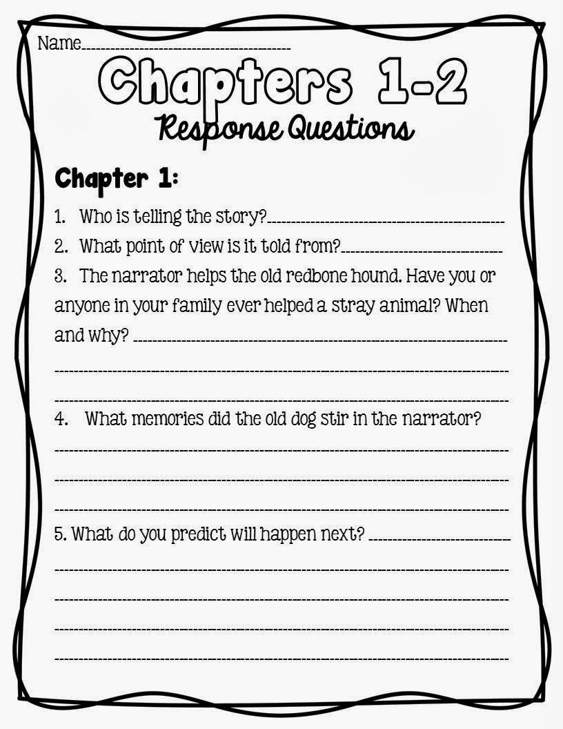 Workshop Wednesday Where The Red Fern Grows Reading Response Worksheets Reading Response 4th Grade Reading [ 1056 x 816 Pixel ]