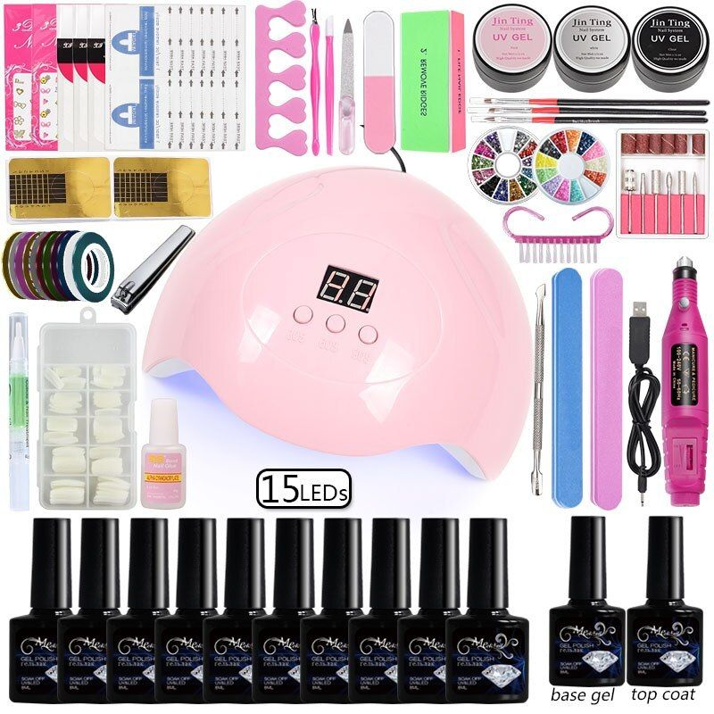 10 Color Gel Nail Polish Set Manicure Set Nail Kit Dryer Lamp 36/48/80w Kit Acrylic Set Professional Set Manicure Art Tools MeetNail 10 Color Gel Nail Polish Dryer Lamp 36/48/80w Kit Acrylic Professional Set.