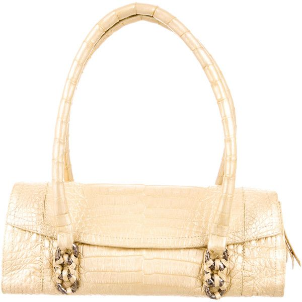 Pre-owned Nancy Gonzalez Crocodile Handle Bag ($595) ❤ liked on Polyvore featuring bags, handbags, gold, crocodile embossed top handle bags, crocodile purse, white hand bags, white handbags and white purse
