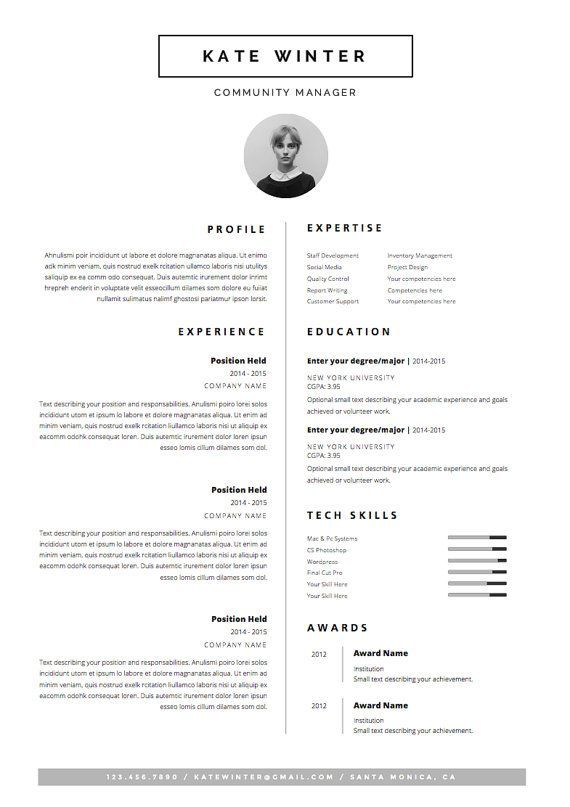 Minimal Resume Template for Word 1  2 Page CV by OddBitsStudio - resume goals