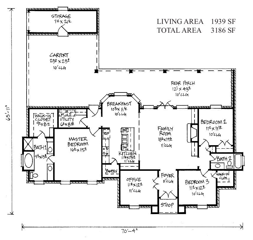 Monroe Louisiana Style Home Floor Plan