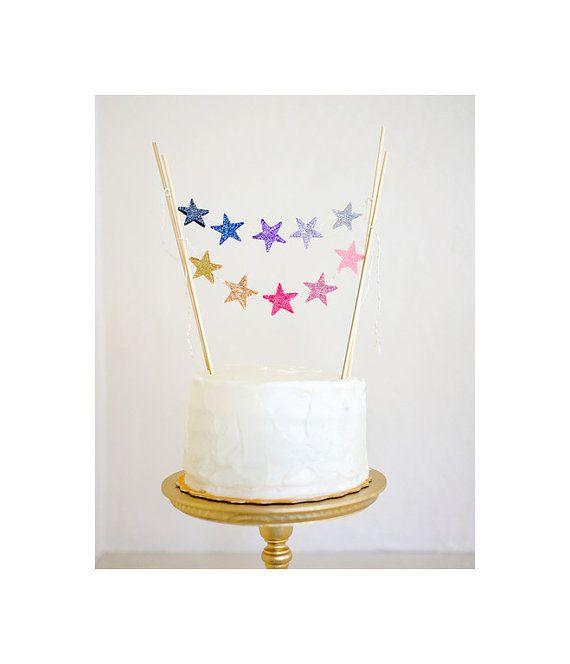 Lila OMBRE fühlte Glitter cake Topper Sternen von mosey auf Etsy
