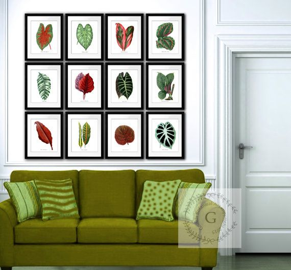 Botanical Prints set of 12 Large Tropical Leaves red, green wall ...