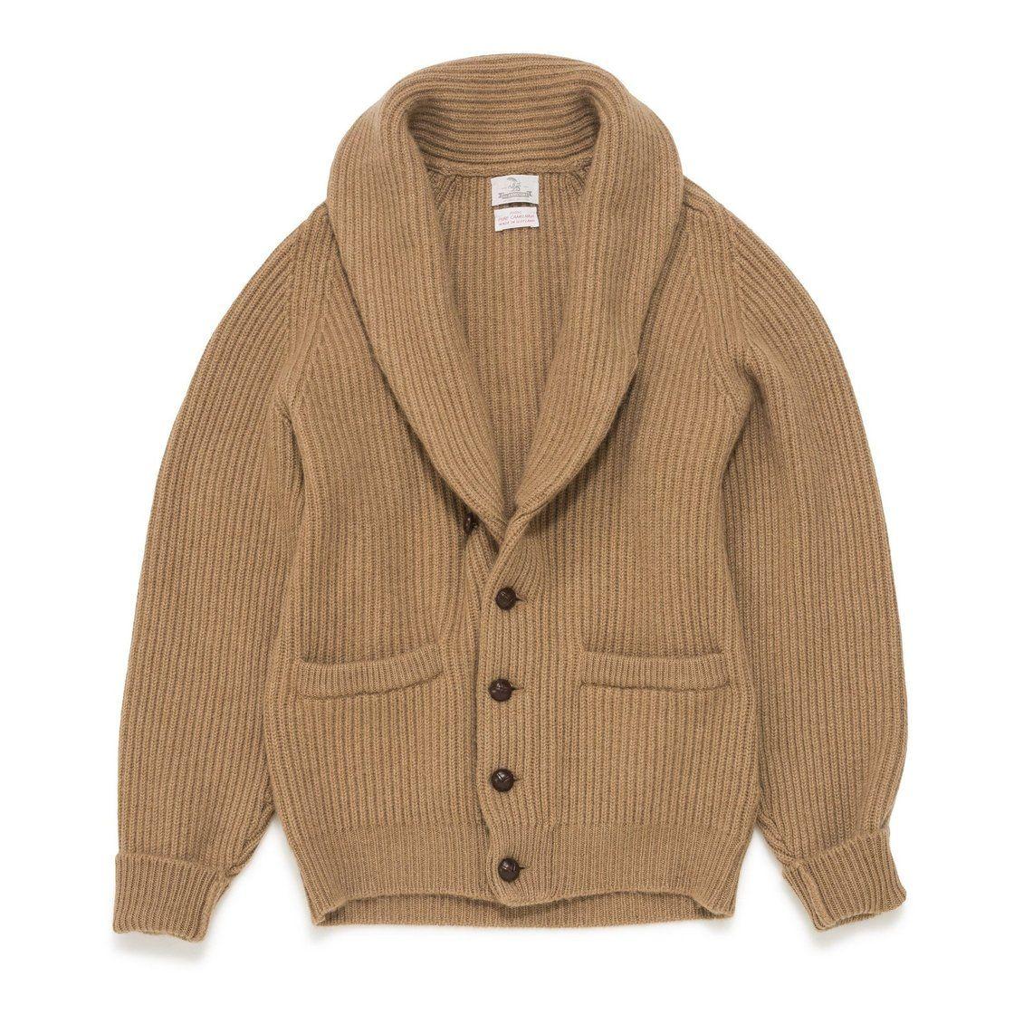 4 ply Camelhair Shawl collar Cardigan   Sweaters women