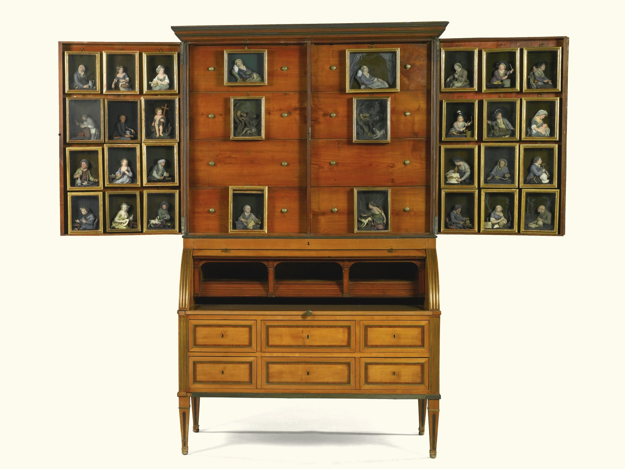 A German Neoclassical Brass Mounted Cherrywood Bureau Cabinet Figuri Schrank Late 18th Century Neoclassical Furniture Georgian Furniture European Furniture