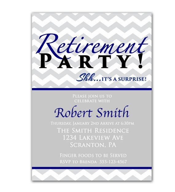 surprise retirement party invitation gray chevron navy blue, Party invitations