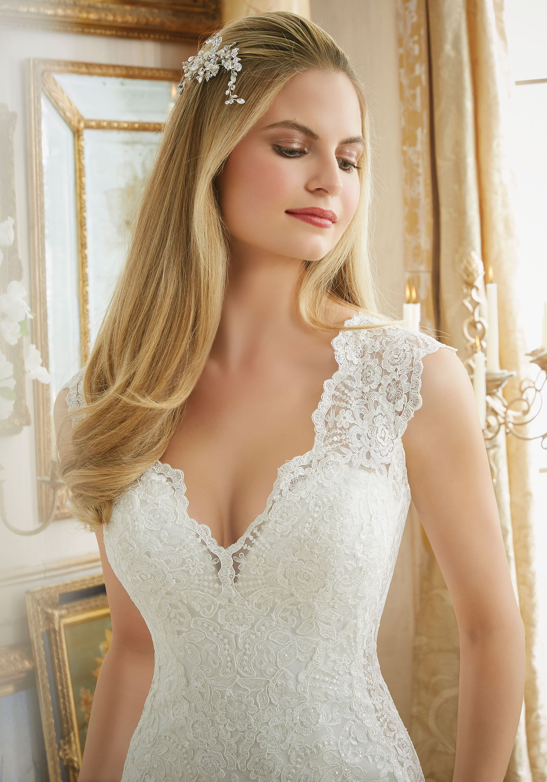 Color embroidered wedding dress  Beautifully Frosted Beading on Embroidered Lace Appliqués onto Tulle