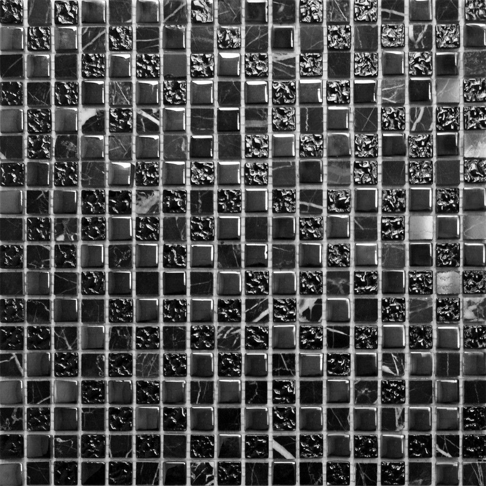Marble & Glass Black Small Tiles Natural Stone & Glass Mosaic Tiles ...