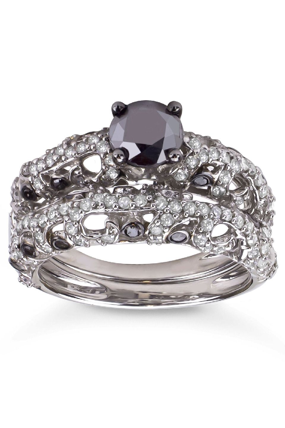 ct black and white diamond bridal ring set in silver beyond the