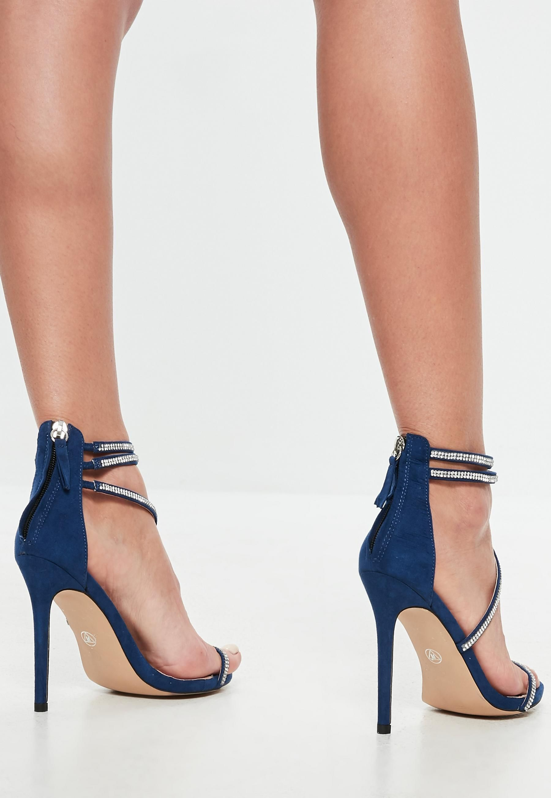 b5e8cc41e Navy Faux Suede Embellished Barely There Heels | Missguided ...