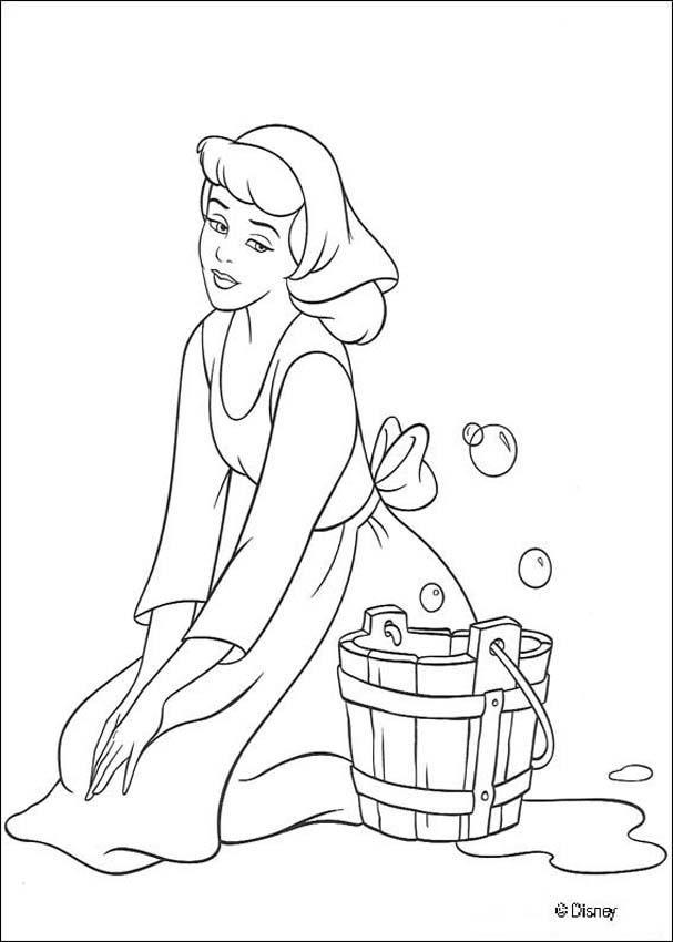 Princess Cinderella Color Pages Printable Cinderella Coloring