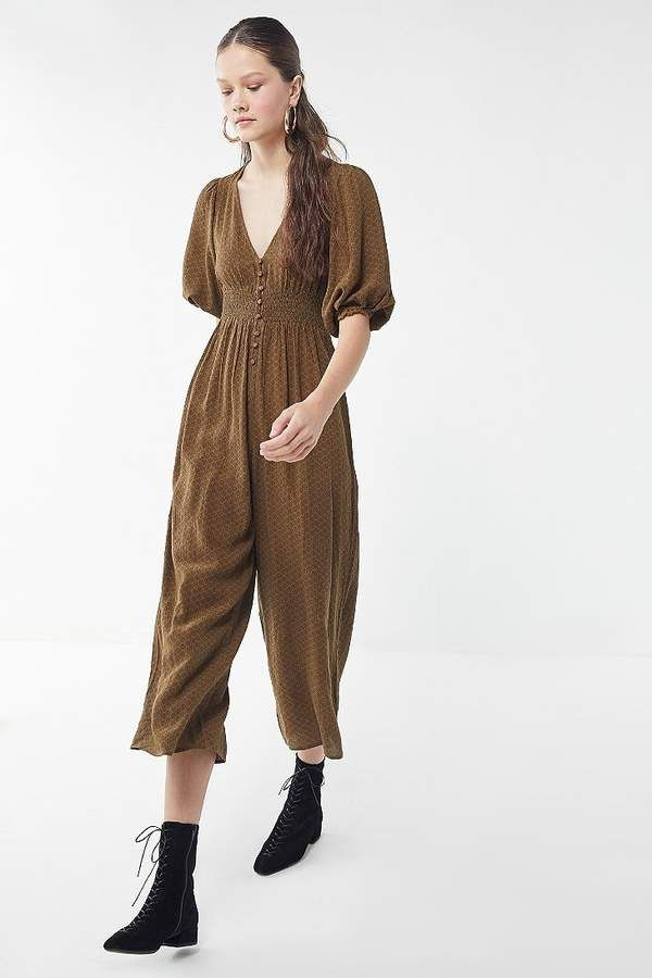 63f76417bca9 Urban Outfitters Zimi Plunging Puff Sleeve Jumpsuit