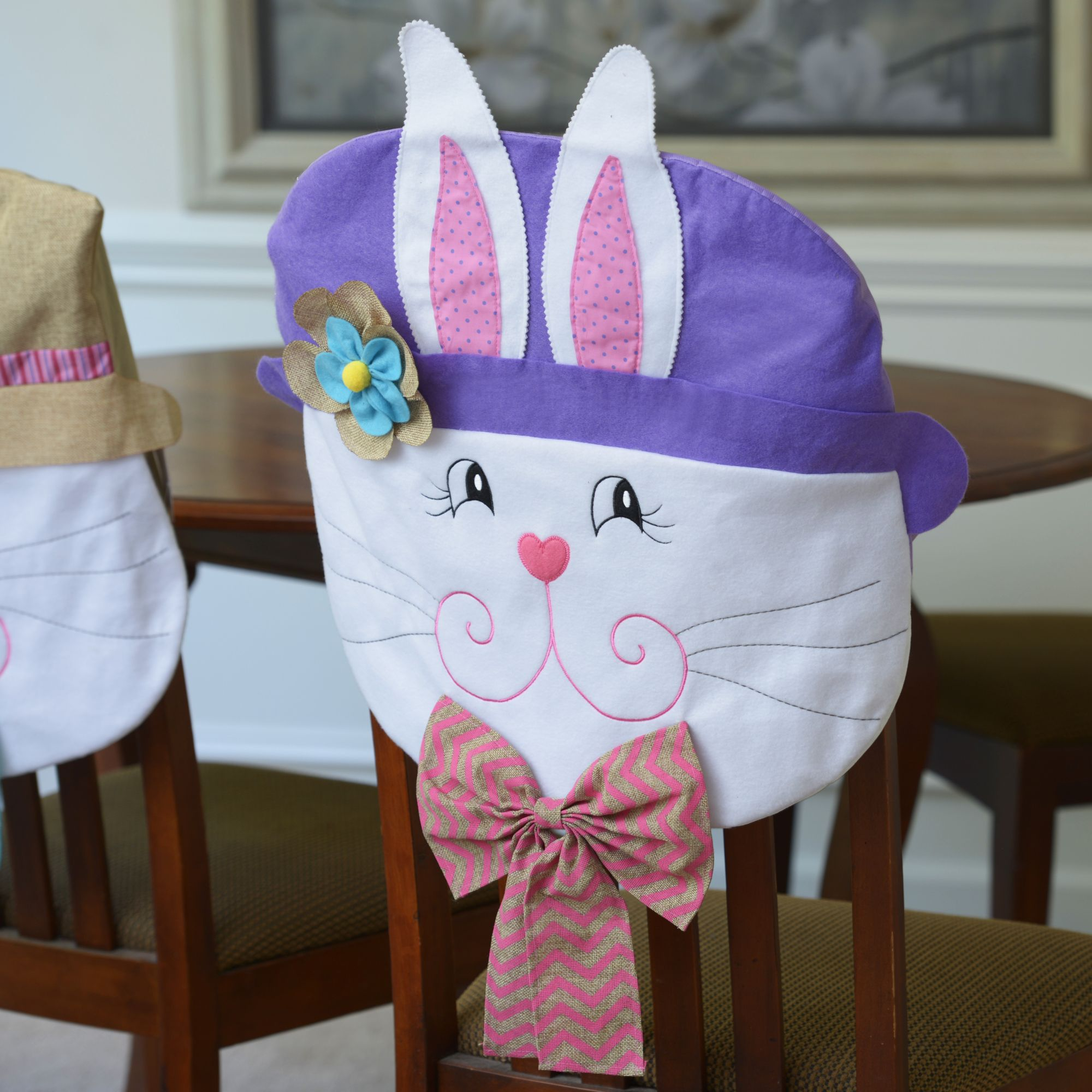 Dress Up Your Dining Room Table With This Set Of Easter Bunny Girl Chair Covers