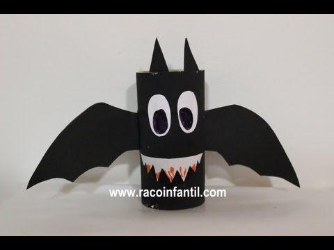Vídeo De Un Murciélago Hecho Con Rollo De Papel Higiénico Manualidades Halloween Rollos De Papel Higiénico Decoración De Halloween