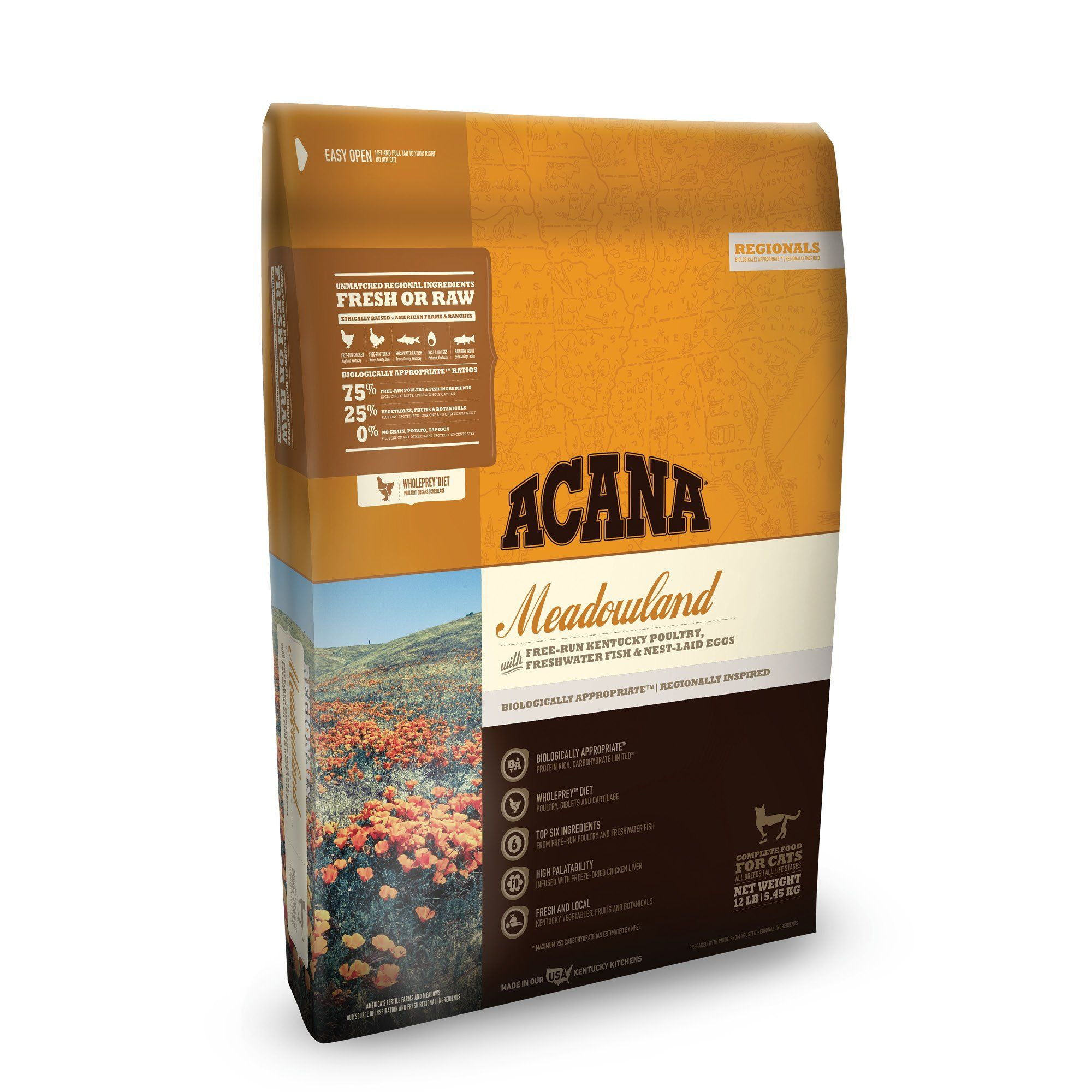 Acana Meadowlands Dry Cat Food 12 Lbs Dry Cat Food Dry Dog