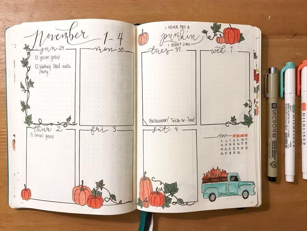 "Bullet Journal on Instagram: ""Here's my first weekly for November! Even though it's October through half of it????????‍♀️ what do y'all do for weeks split like these? . . .…"" #halloweenbulletjournal Bullet Journal on Instagram: ""Here's my first weekly for November! Even though it's October through half of it????????‍♀️ what do y'all do for weeks split like these? . . .…"" #novemberbulletjournalcover"