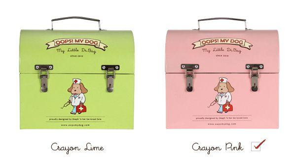 My little Dr. Bag - in pink und lime ♥ Praktische und zugleich supersüße Aufbewahrungsbox für all die Kleinigkeiten die Hund so braucht