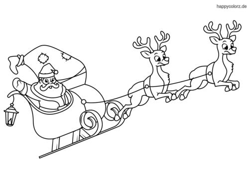 Weihnachtsmann Im Schlitten Mit Rentieren Ausmalen Ausmalbilder Ausmalen Ausmalbilder Kinder
