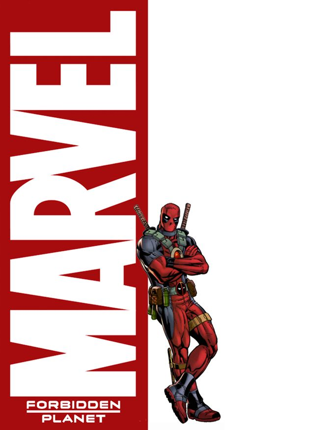 Marvel window display poster designed for Forbidden Planet - featuring Deadpool!