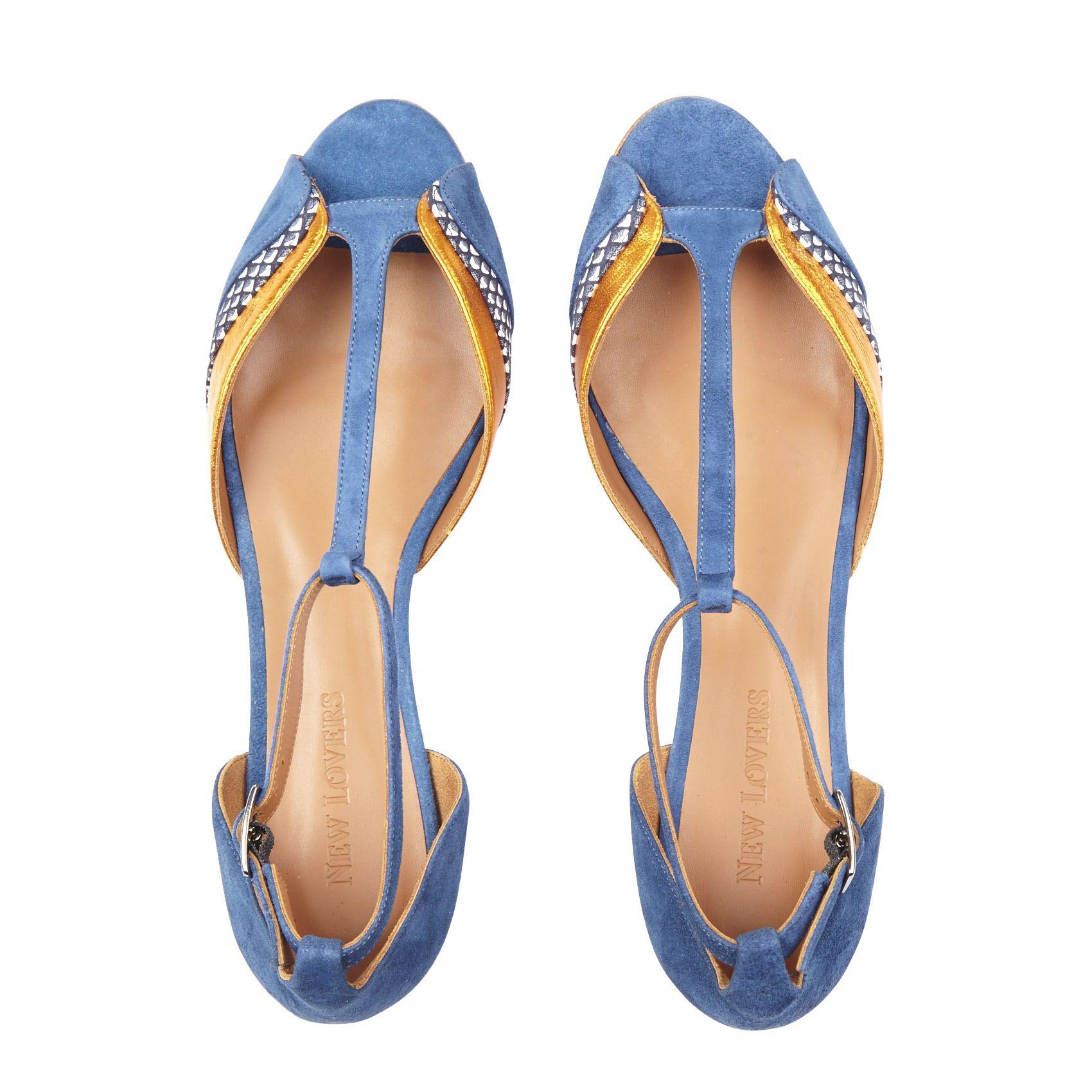 51e46f2c4 E-shop New Lovers - Sandales Plates Pippa Bleu New Lovers pour femme sur  Place des tendances Groupe Printemps. Retrouvez toute la collection New  Lovers pour ...