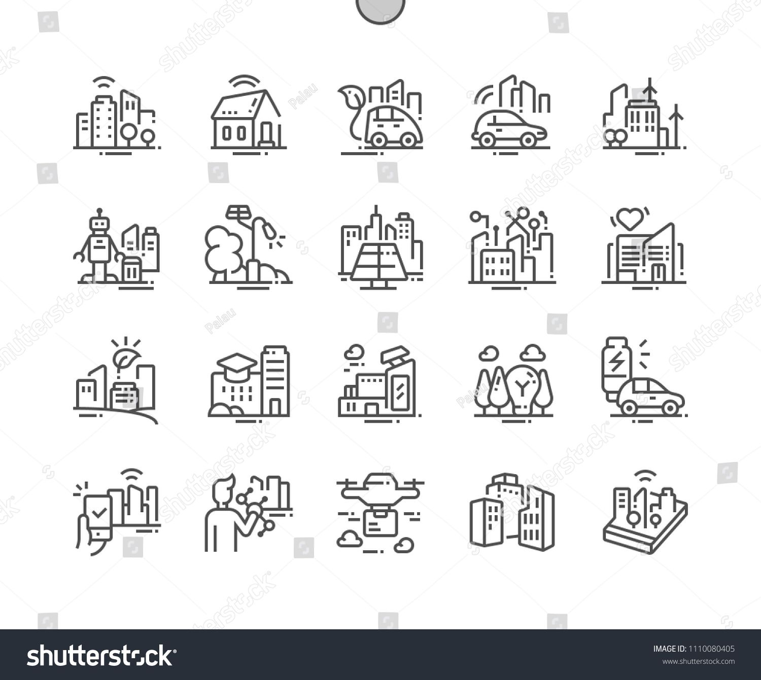 Smart City Technology Well Crafted Pixel Perfect Vector Thin Line Icons 30 2x Grid For Web Graphics And Apps Simple Minimal Pict Web Graphics Smart City Pixel